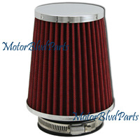 "5.25""x4.75"" Air Filter Red 3"" Diameter Pipes Chrome Top"