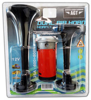 Black Air Horn Train Horn Dual Trumpet Kit 12V