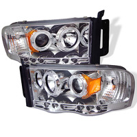 Dodge Ram 02-05 Halo Projector Headlights - Chrome