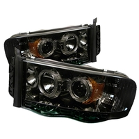 Dodge Ram 02-05 Projector Headlights Halo - Smoke