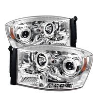 Dodge Ram 06-08 Halo Led Projector Headlights - Chrome