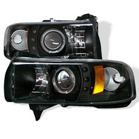 Dodge Ram 94-01 Halo Projector Headlights (Amber) - Black