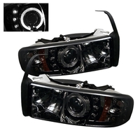 Dodge Ram 94-01 Projector Headlights Halo - Smoke