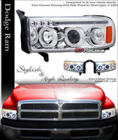 Ram 1994-2001 Euro Dual Halo Projector Headlights Chrome