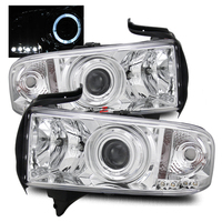 Ram 1994-2001 Halo Projector Headlights - Chrome