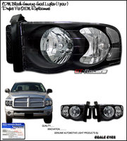 Ram 2002-2005 Clear Headlights Black