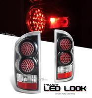 Ram 2002-2005 LED Look Tail Lights - Black Housing with Diamond Cut