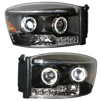 Ram 2006-2008 LED Halo Projector Headlights Black