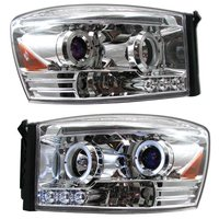 Ram 2006-2008 LED Halo Projector Headlights Chrome
