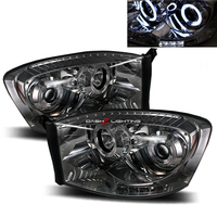 Ram 2006-2008 LED Halo Projector Headlights - Smoke