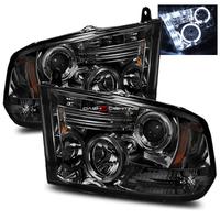 Ram 2009-2010 Halo Projector Headlights - Smoke