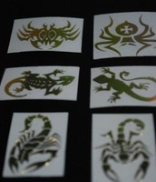 Spider Lizard Scorpion Metal Decal Golden Emblem Sticker Set