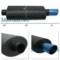 "Universal Black Muffler 2.5"" Inlet 3"" Slant Blue Tip"
