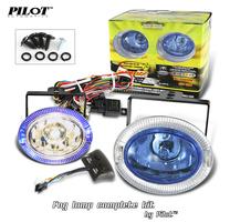 2 X Pilot Oval Universal Blue Lens Halo Fog Lights