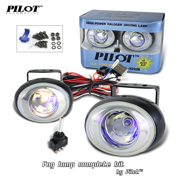 2 x Pilot Oval Universal Ion Lens Fog Lights Kit with Light Bulbs
