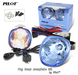 2 x Pilot Round Universal Blue Lens Fog Lights Kit with Light Bulbs