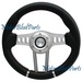 Universal Steering Wheel 330MM Black Leather Red Stitch